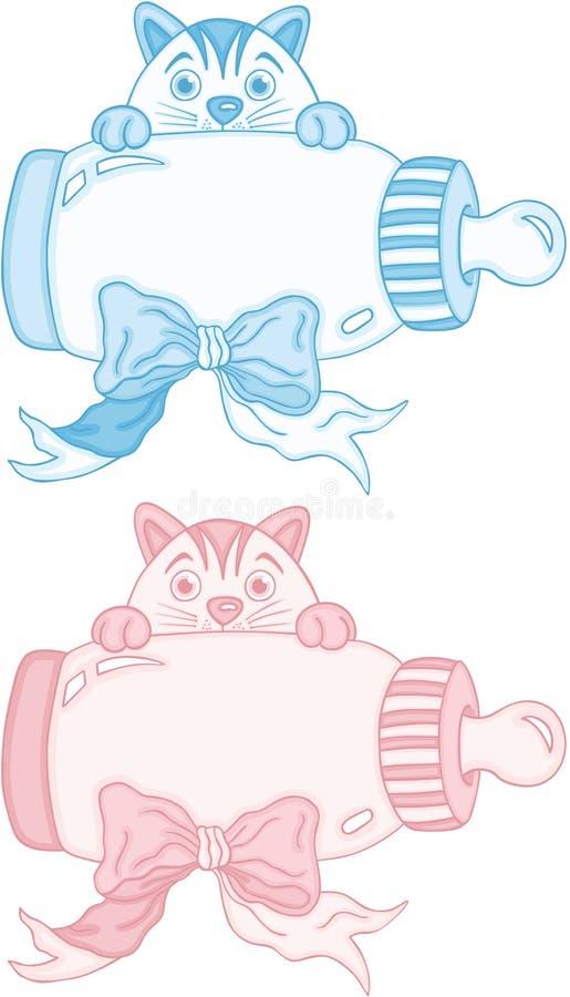Chat mignon bleu et rose avec la bouteille à lait de bébé illustration libre de droits