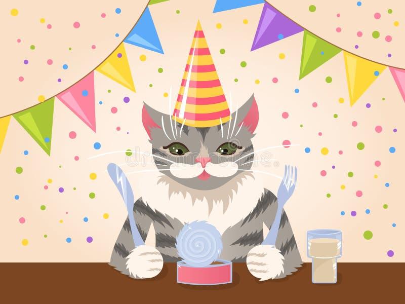 Chat mignon d'anniversaire illustration libre de droits