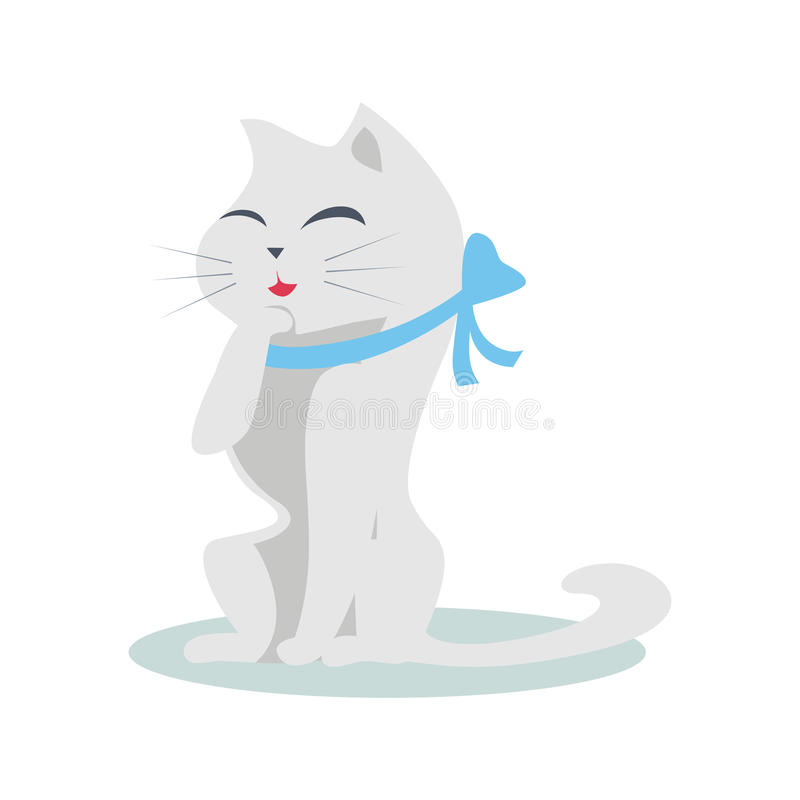 Chat mignon de bande dessinée avec le ruban bleu illustration stock