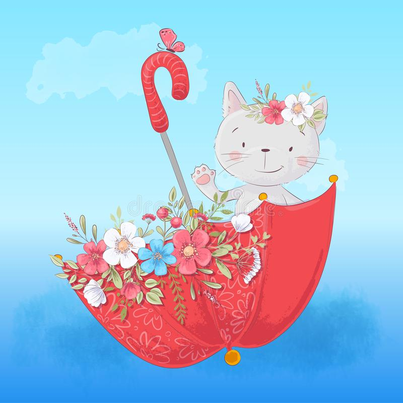 Chat mignon de bande dessinée dans un parapluie avec des fleurs, affiche d'impression de carte postale pour une salle de l'enfant illustration libre de droits