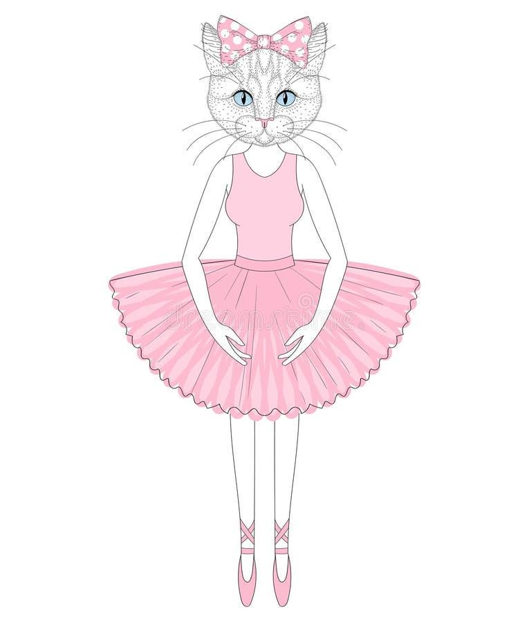 Chat mignon de vecteur dans la robe comme la ballerine Anthropomorp tiré par la main illustration libre de droits