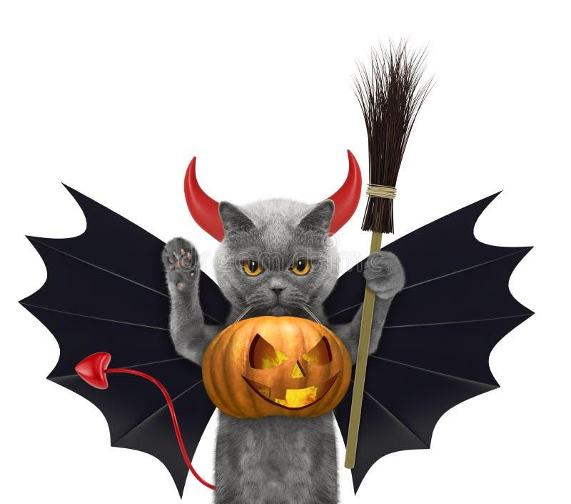 Chat mignon en potiron drôle de Halloween de prise de chapeau dans la bouche - d'isolement sur le blanc illustration de vecteur