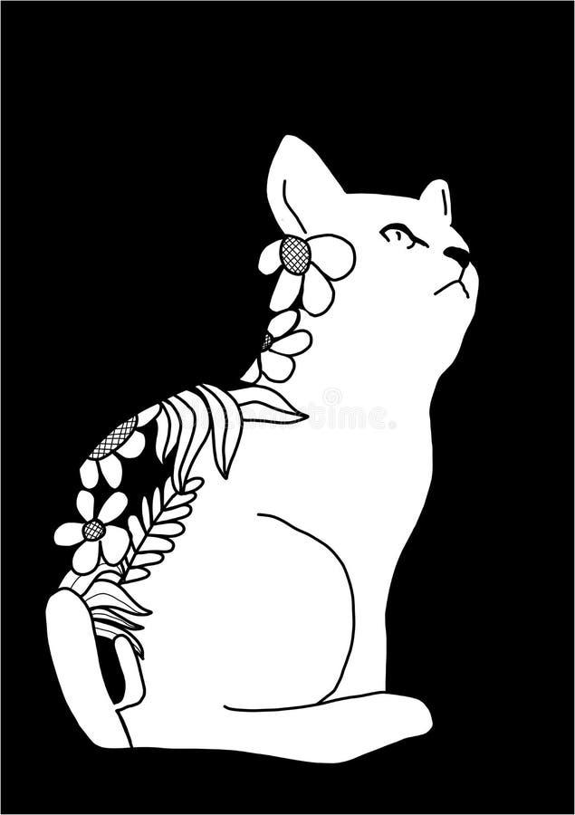 Chat mignon masqué avec l'illustration de fleurs photographie stock