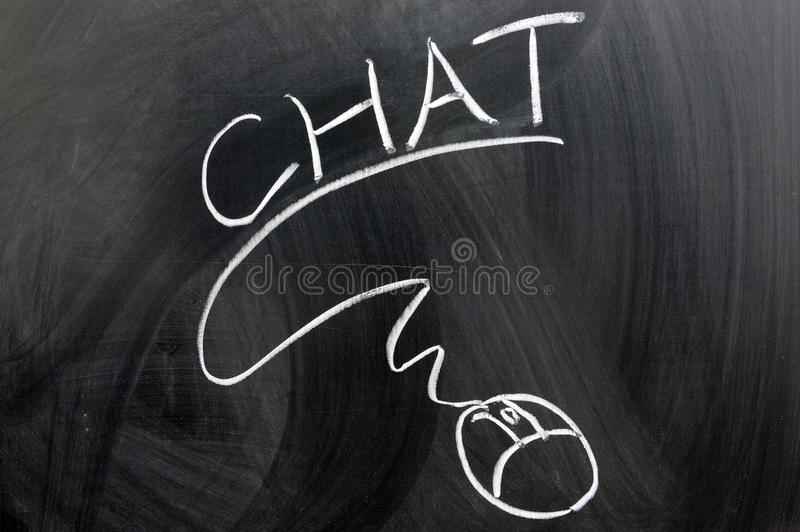 Chat and mouse. Chat word and computer mouse written on the chalkboard royalty free stock photo