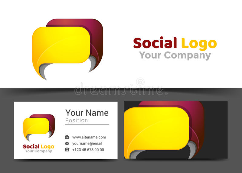Chat-Nachrichten-Unternehmenslogo und Visitenkarte-Zeichen-Schablone vektor abbildung