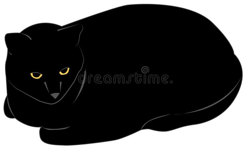 Chat noir illustration de vecteur