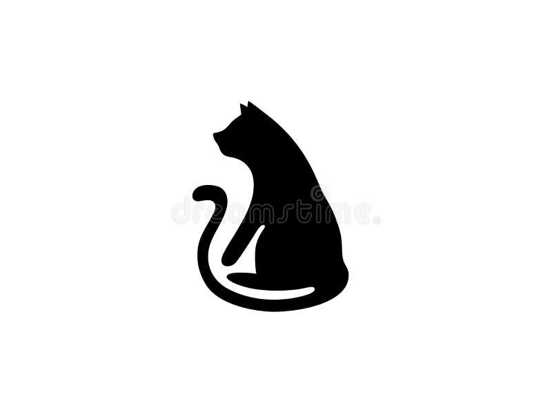 Chat noir avec la grande queue pour la conception de logo illustration stock