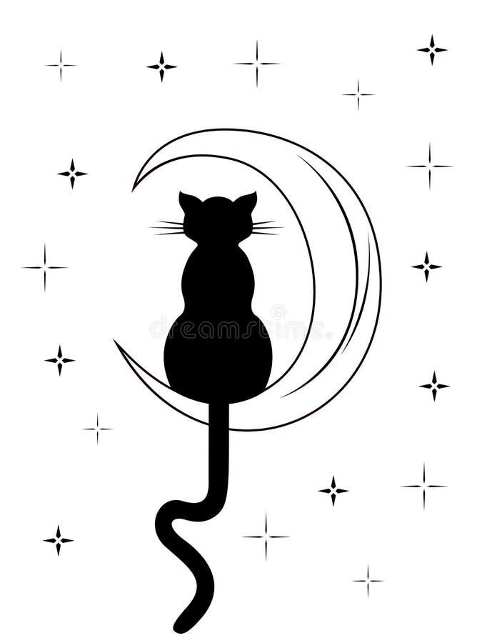 Chat noir avec la longue queue se reposant sur la lune illustration de vecteur