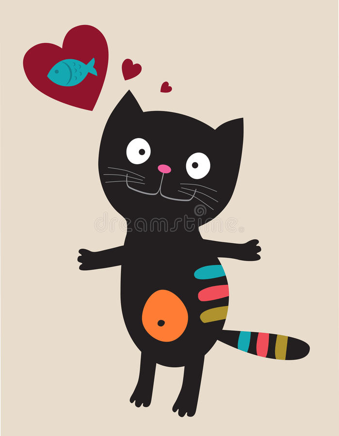 Chat noir avec le coeur et poissons illustration libre de droits
