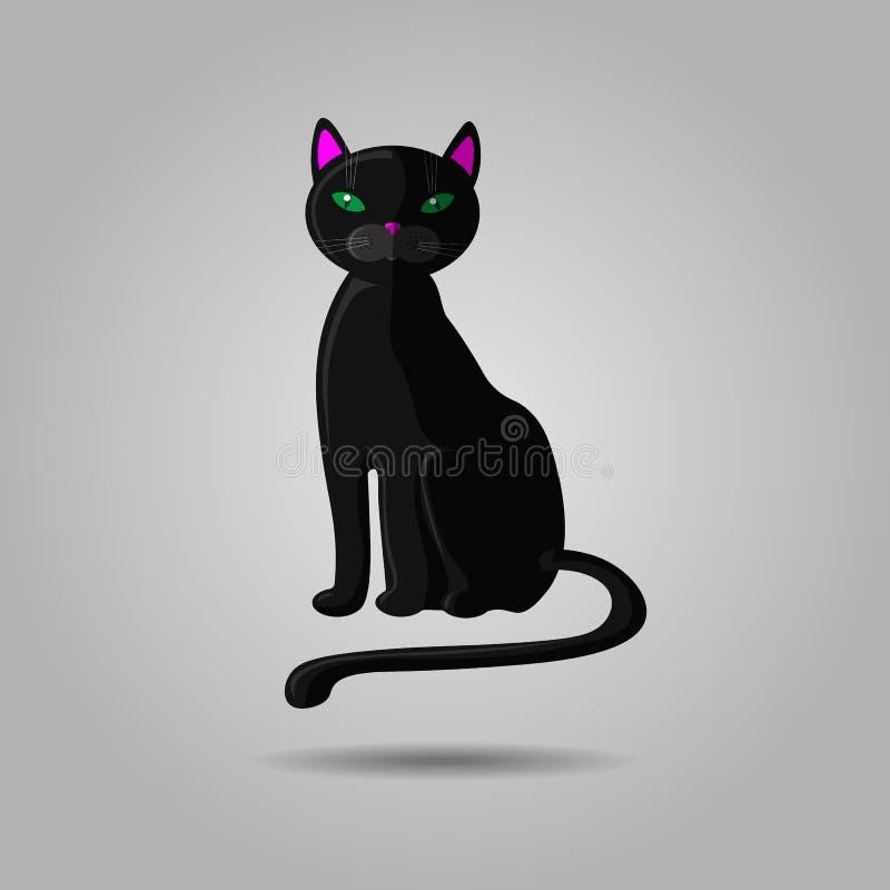 Chat noir avec les yeux verts sur le gris Icône de Halloween ou du vendredi 13 Illustration de vecteur illustration libre de droits