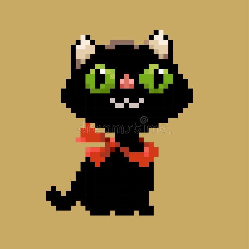 Chat noir d'art de pixel de vecteur dans l'écharpe rouge illustration libre de droits