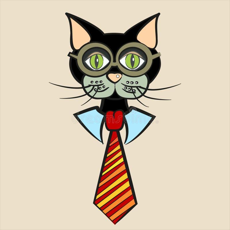Chat noir dans les verres, la chemise et le lien illustration libre de droits