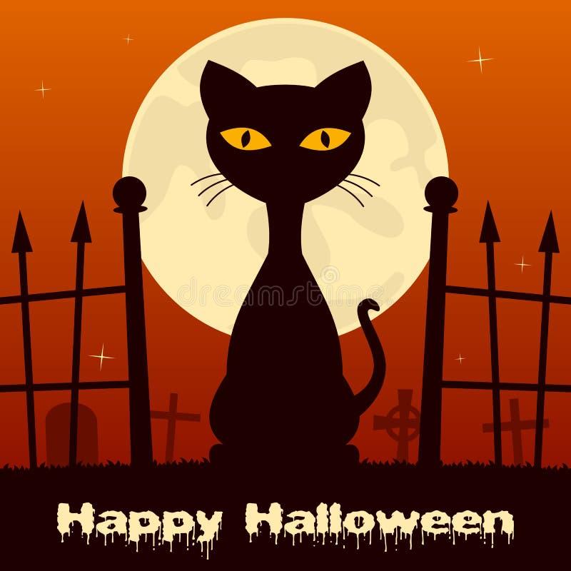 Chat noir de Halloween dans un cimetière effrayant illustration de vecteur
