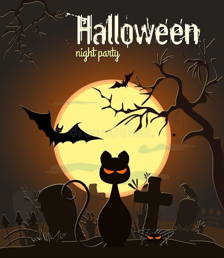 Chat noir de Halloween sur le vieux cimetière, illustration de vecteur illustration de vecteur