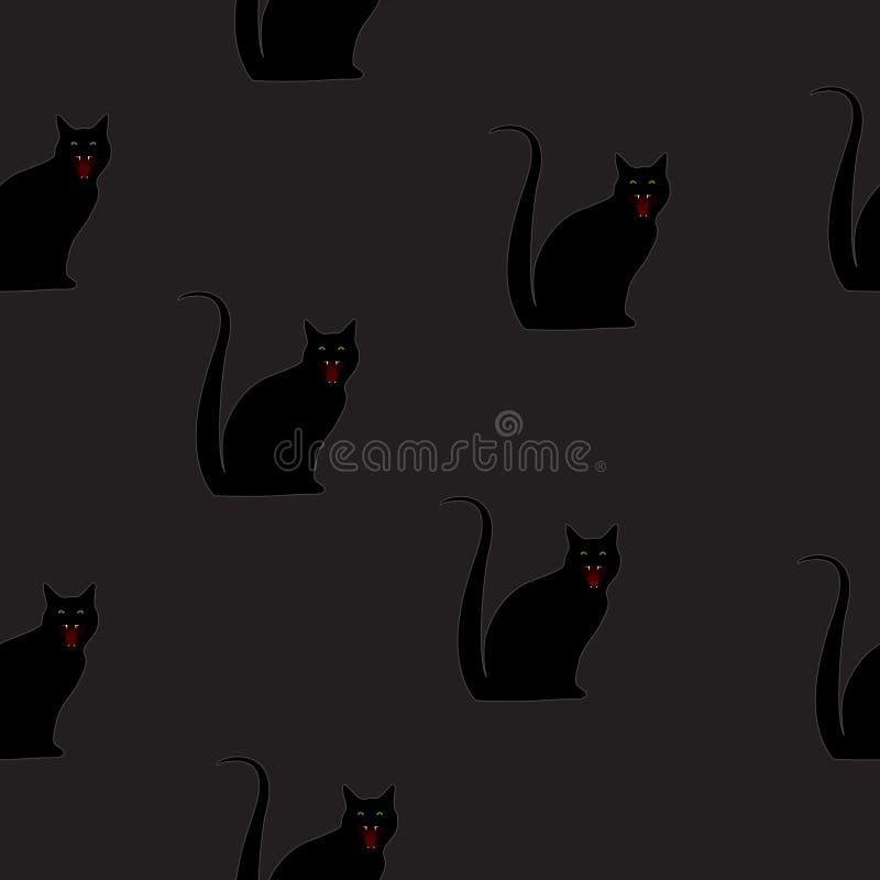 Chat noir de modèle sans couture vendredi 13 sur le noir, vecteur ENV 10 illustration libre de droits