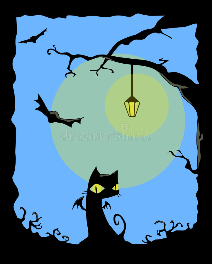Chat Noir De Nuit Photos stock