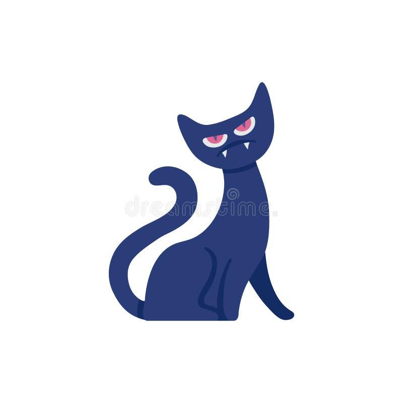 Chat noir de sorcière plate de Halloween de vecteur illustration stock