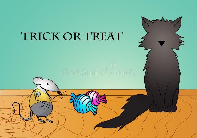 Chat noir drôle, petite souris et sucreries Tour ou festin Carte de voeux ou affiche heureuse de Halloween illustration stock