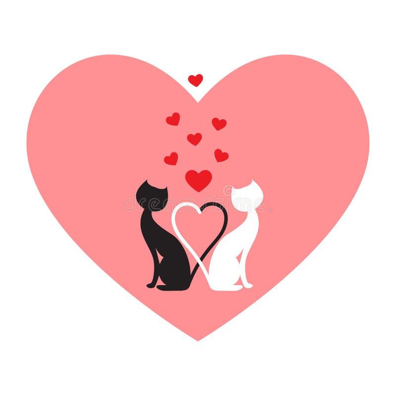Chat noir et chat blanc illustration de vecteur