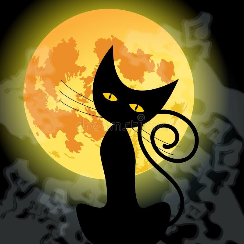 Chat noir mignon de Halloween et pleine lune illustration libre de droits