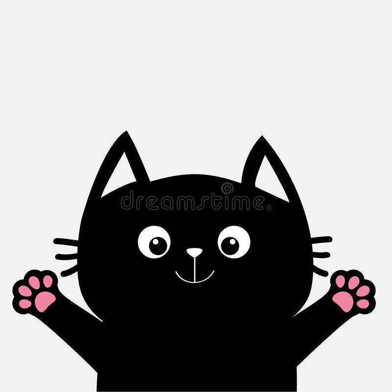 Chat noir prêt pour étreindre Copie ouverte de patte de main Kitty atteignant pour une étreinte Animal drôle de Kawaii Carte de c illustration libre de droits