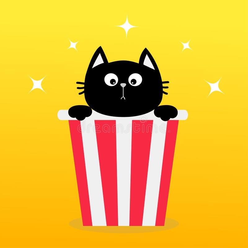 Chat noir se reposant dans la boîte à maïs éclaté Icône de cinéma de film dans le style plat de conception Maïs de bruit Personna illustration stock