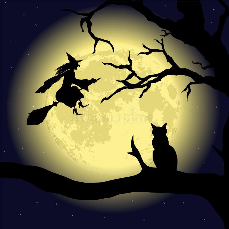 Chat noir sur l'arbre à la pleine lune illustration de vecteur