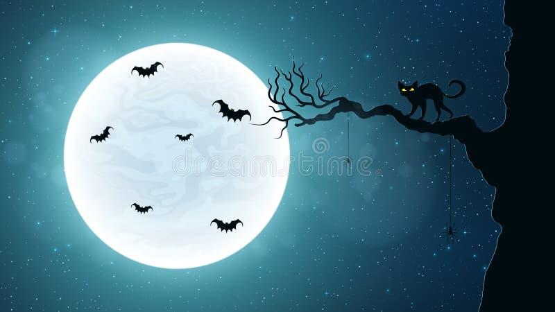 Chat noir sur un arbre dans la perspective de la pleine lune Nuit terrible 'bat' de vol Ciel étoilé réaliste illustration stock