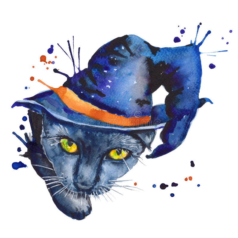 Chat noir un croquis autonome Le symbole de Halloween Waterc illustration stock