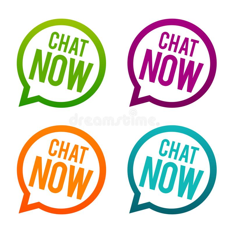 Chat now round Buttons. Circle Eps10 Vector. royalty free illustration