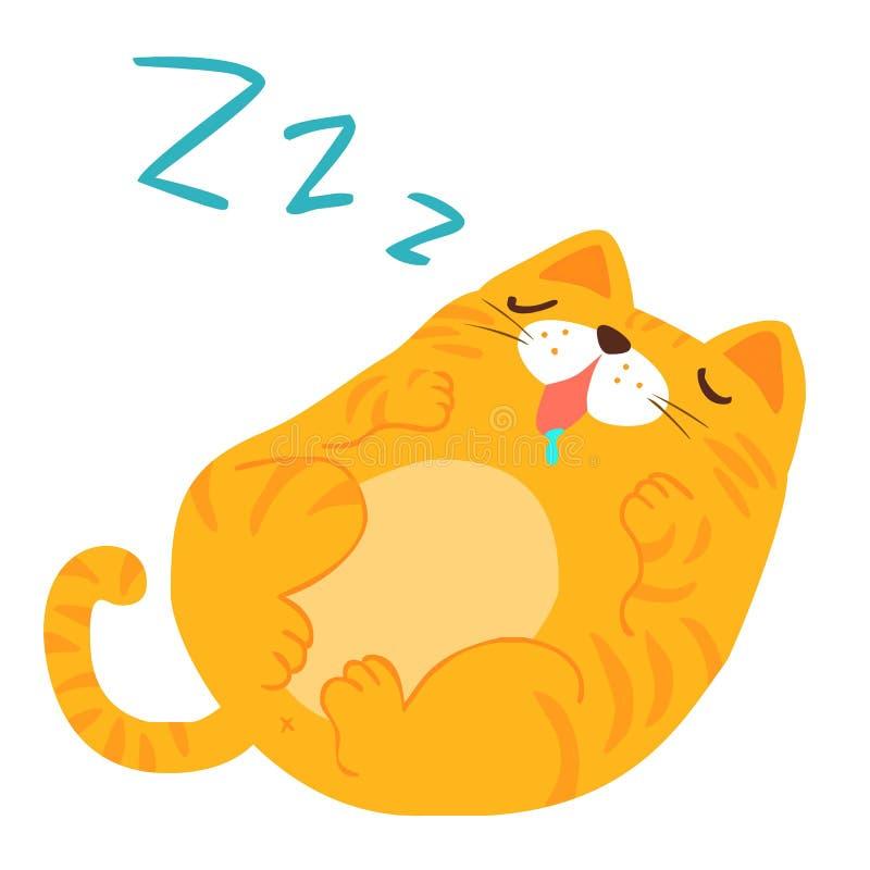 Chat pelucheux de rêve doux de sommeil illustration de vecteur