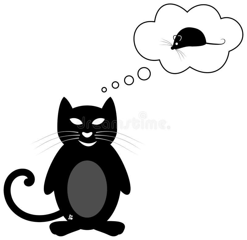 Chat pensant à une souris illustration libre de droits