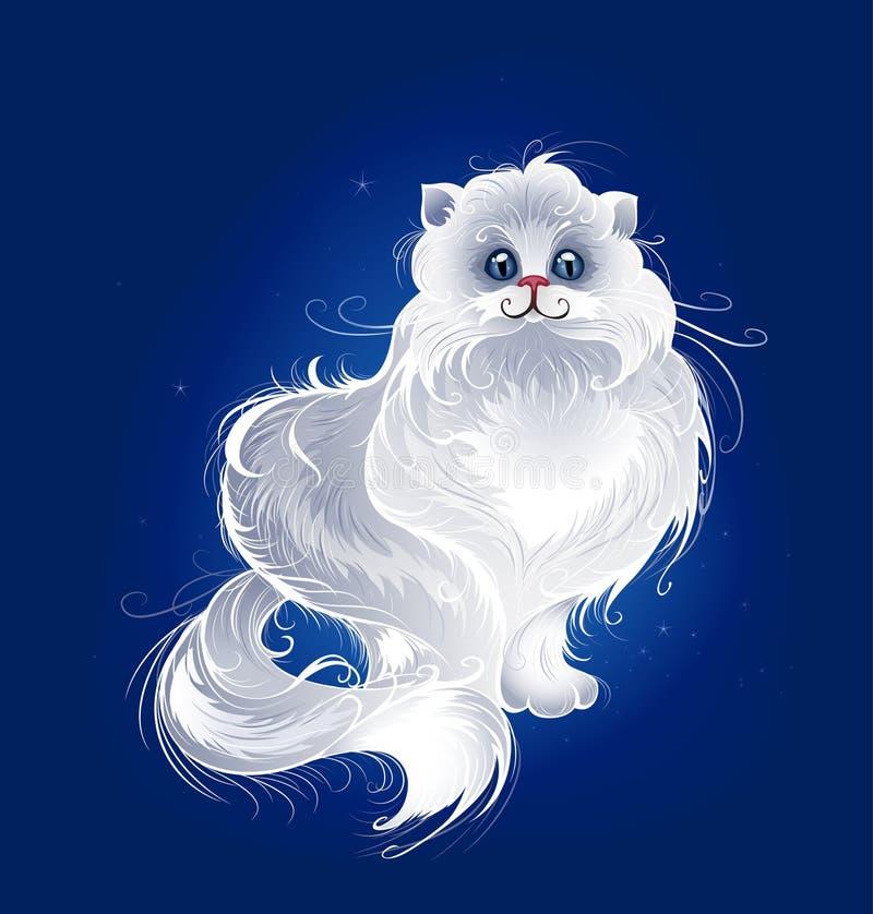 Chat persan blanc magique illustration de vecteur