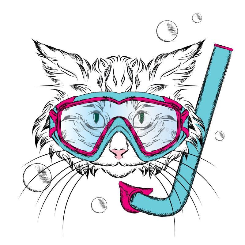 Chat portant un masque pour la plongée hippie Loisirs en mer Vacances nageur illustration de vecteur