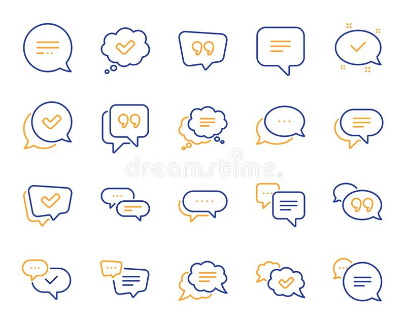 Chat and quote line icons. Approved, Checkmark box and Social media message. Vector vector illustration