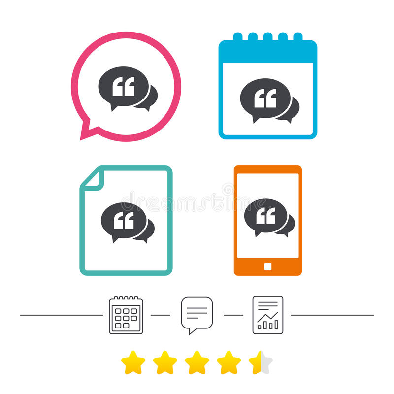 Chat Quote sign icon. Quotation mark symbol. Double quotes at the beginning of words. Calendar, chat speech bubble and report linear icons. Star vote ranking stock illustration