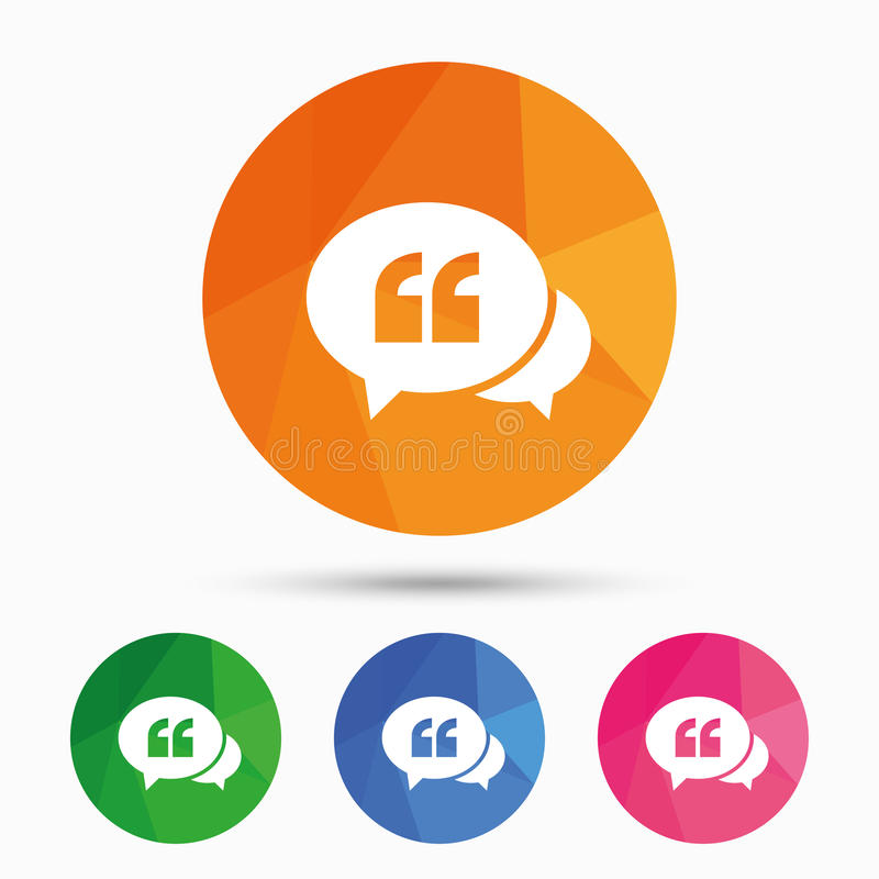 Chat Quote sign icon. Quotation mark symbol. stock illustration