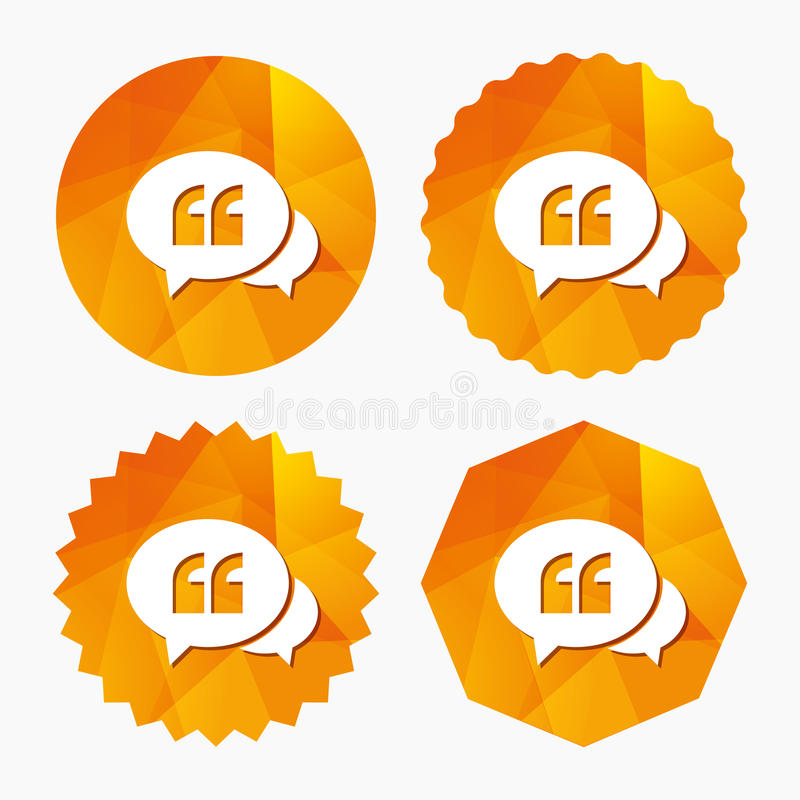 Chat Quote sign icon. Quotation mark symbol. Double quotes at the beginning of words. Triangular low poly buttons with flat icon. Vector royalty free illustration