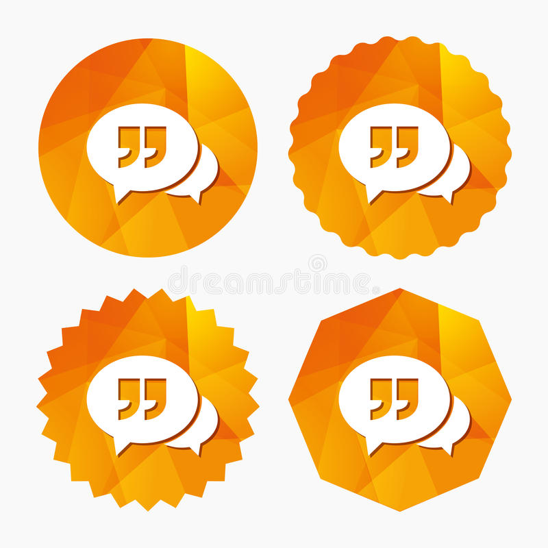 Chat Quote Sign Icon Quotation Mark Symbol Stock Vector