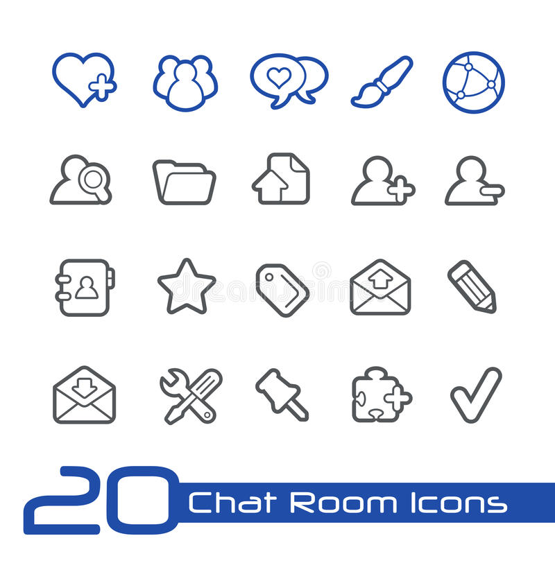Chat Room Icons Line Series Stock Vector Illustration Of