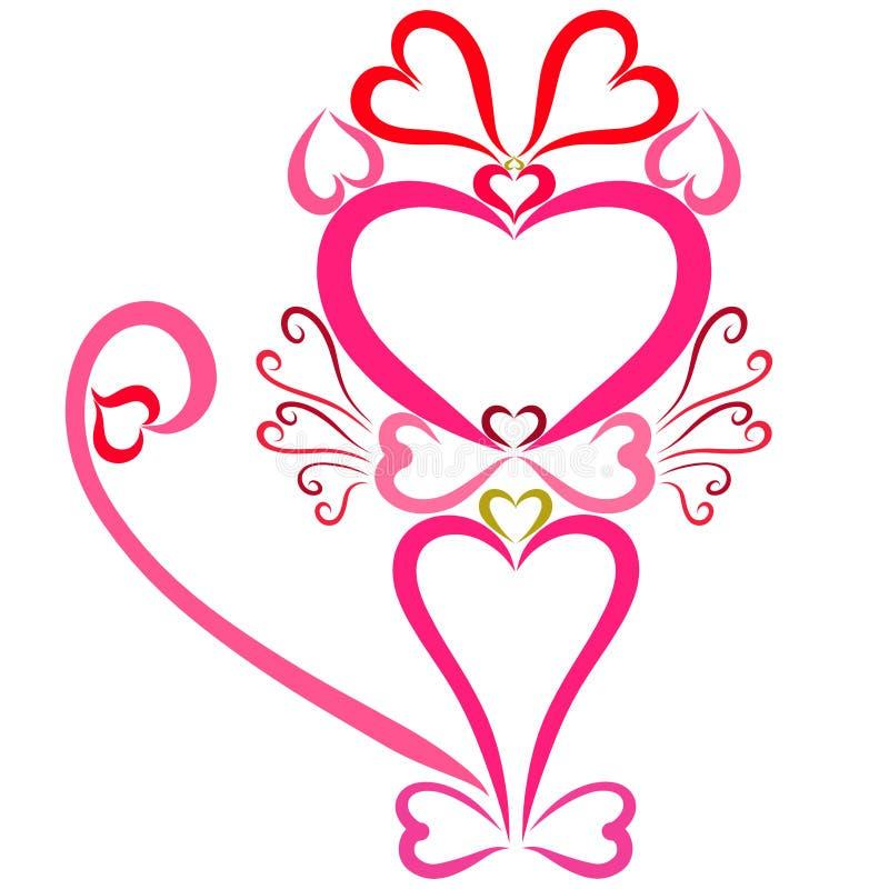 Chat rose avec un arc dessiné par coeurs illustration stock