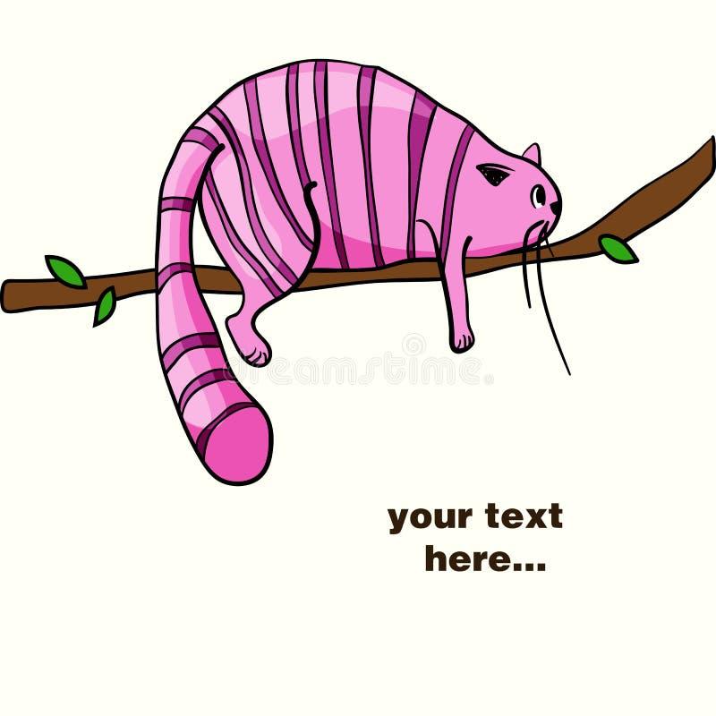 Chat rose paresseux s'étendant sur la branche illustration stock