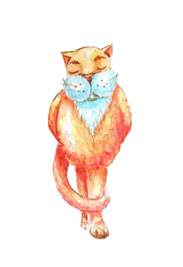 Chat rouge d'aquarelle avec une barbe blanche et supports couverts de yeux sur ses jambes de derrière illustration libre de droits