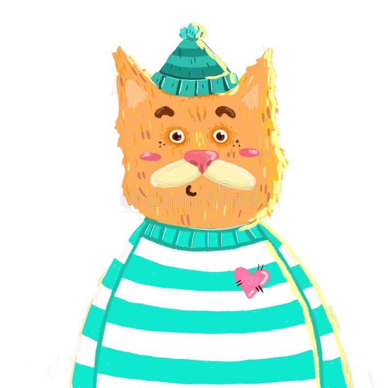 chat rouge dans un chapeau illustration de vecteur