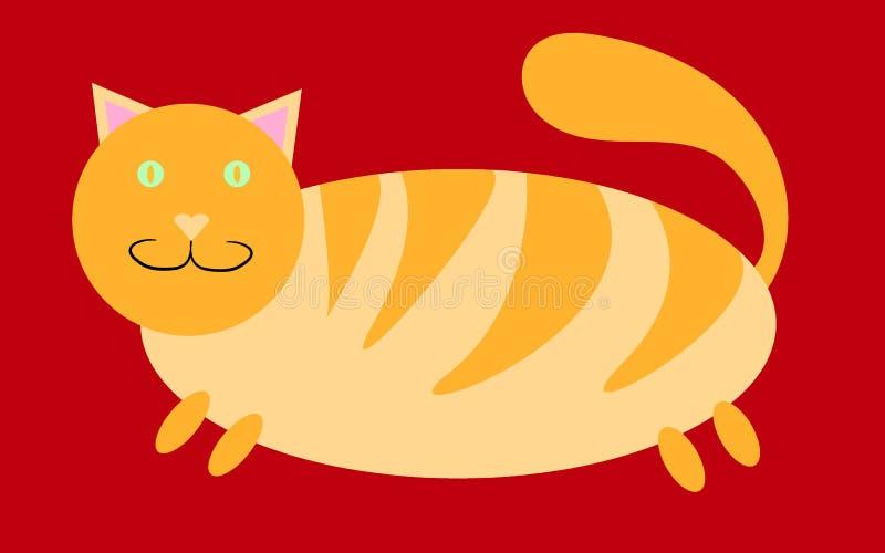 Chat rouge, gros, gros, rayé avec les pattes courtes et une petite tête avec des oreilles collant sur un fond rouge illustration libre de droits