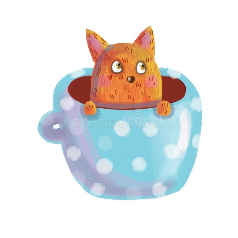 Chat rouge se reposant dans une tasse bleue illustration libre de droits