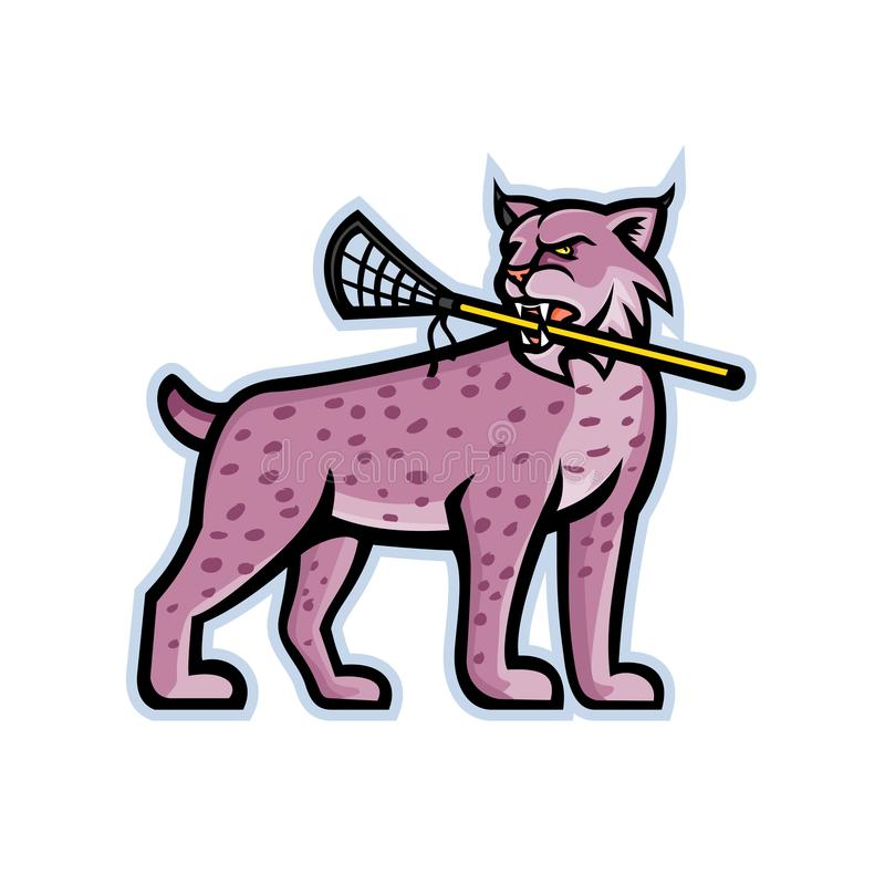 Chat sauvage ou mascotte de lacrosse de Lynx illustration de vecteur