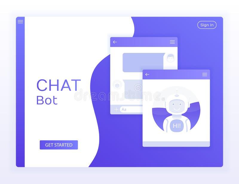 Chat-Schnittstellen-Anwendung mit Dialogfenster Konzeptwebsite Säubern Sie UI-Konzept des Entwurfes Sms-Bote vektor abbildung