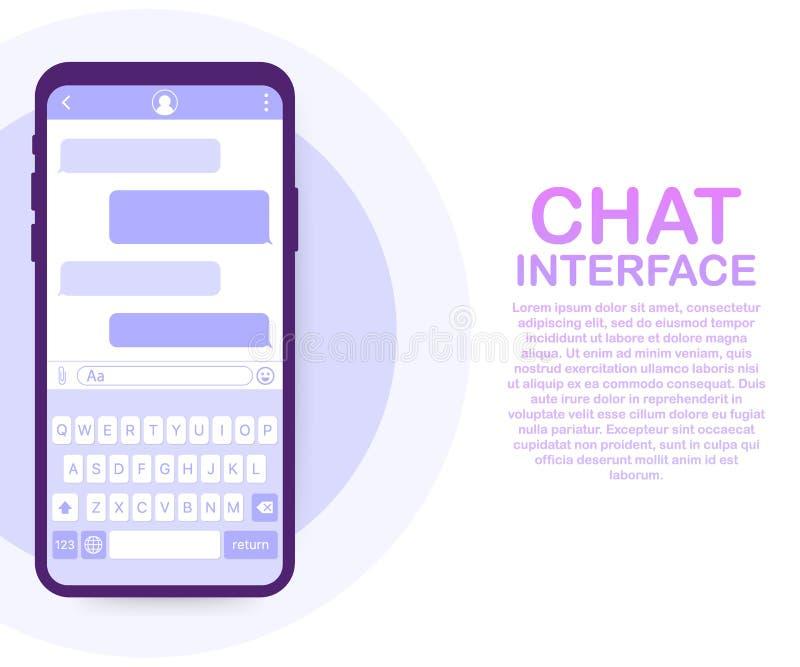 Chat-Schnittstellen-Anwendung mit Dialogfenster Säubern Sie bewegliches UI-Konzept des Entwurfes Sms-Bote Auch im corel abgehoben stock abbildung