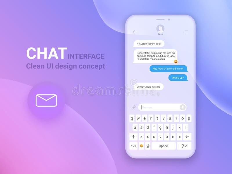 Chat-Schnittstellen-Anwendung mit Dialogfenster Säubern Sie bewegliches UI-Konzept des Entwurfes Sms-Bote Flache Netz-Ikonen ENV  stock abbildung